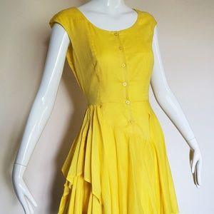 Calvin Klein Yellow Fit and Flare dress